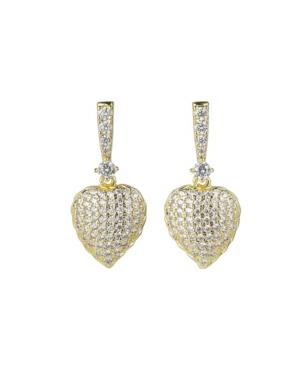 A & M Gold-Tone Heart Drop Earrings