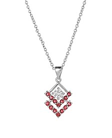Silver-Tone Ruby Accent Triangle Pendant Necklace