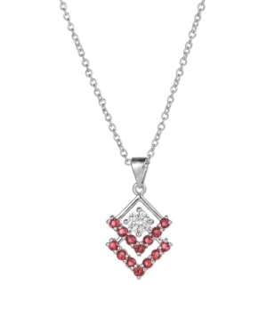 A & M Silver-Tone Ruby Accent Triangle Pendant Necklace