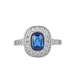Silver-Tone Sapphire Accent Ring