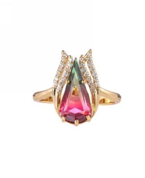 A & M Gold-Tone Watermelon Quartz Accent Ring