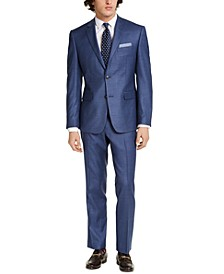 Men's Slim-Fit Stretch Blue Plaid Suit