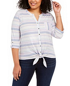 Plus Size Cotton Tie-Front Top, Created For Macy's