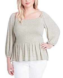 Trendy Plus Size Sherrie Smocked Peplum Top