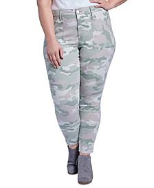 Trendy Plus Size Camo-Print Utility Skinny Ankle Jeans