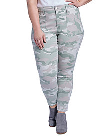 Seven7 Jeans Trendy Plus Size Camo-Print Utility Skinny Ankle Jeans