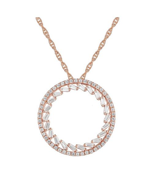 Macy's Round Diamond (1/2 ct. t.w.) Necklace in 14k White or Rose Gold