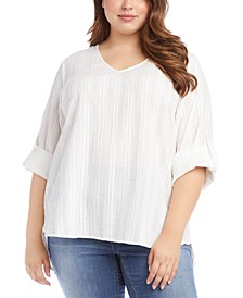 Plus Size Textured Cotton Top