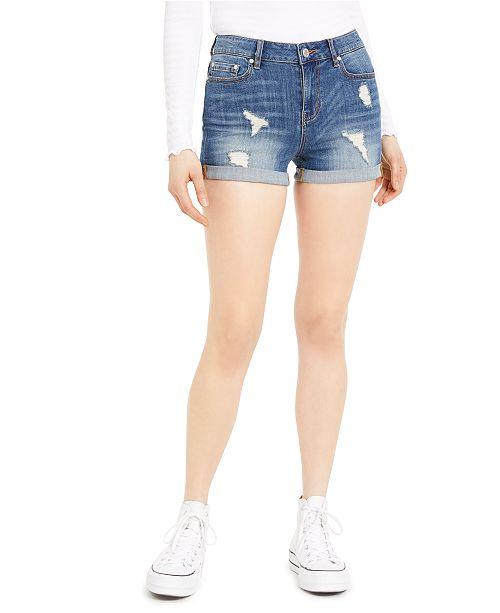 Indigo Rein Juniors' Ripped Cuffed Denim Shorts