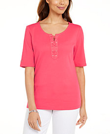 Karen Scott Cotton Lace-Up Elbow-Sleeve Top, Created for Macy's