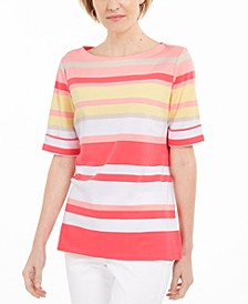 Striped Boatneck T-Shirt, Created For Macy's