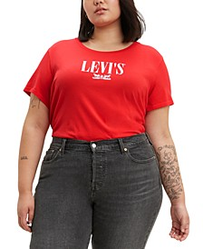 Trendy Plus Size Logo Perfect Cotton T-Shirt