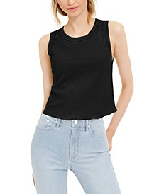 Sleeveless Waffle-Knit Crop Top