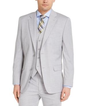 Men's Classic-Fit Stretch Gray Solid Suit Jacket