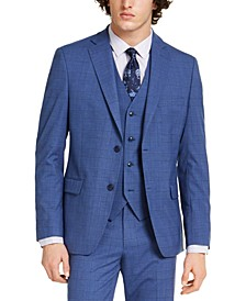 Men's Slim-Fit Stretch Medium Blue Plaid Suit Jacket, Created for Macy's