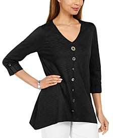 Button-Front Textured Top, Created For Macy's