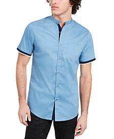 INC Men's Varick Banded Collar Short Sleeve Shirt, Created for Macy's