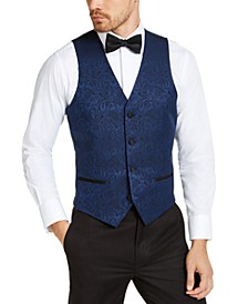 Men's Slim-Fit Blue Paisley Vest, Created for Macy's