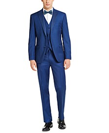 Men's Slim-Fit Stretch Blue Twill Suit Separates, Created For Macy's