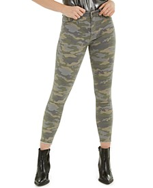 Barbara Camouflage-Print Ankle Frayed-Hem Jeans