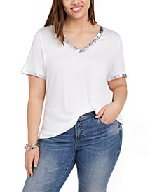INC Plus Size Foil-Painted Top, Created For Macy's