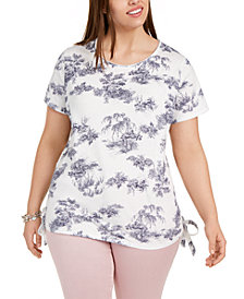 INC Plus Size Side-Tie Tee, Created for Macy's