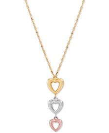 "Triple Heart Tricolor 17"" Pendant Necklace in 10k Gold, White Gold & Rose Gold"