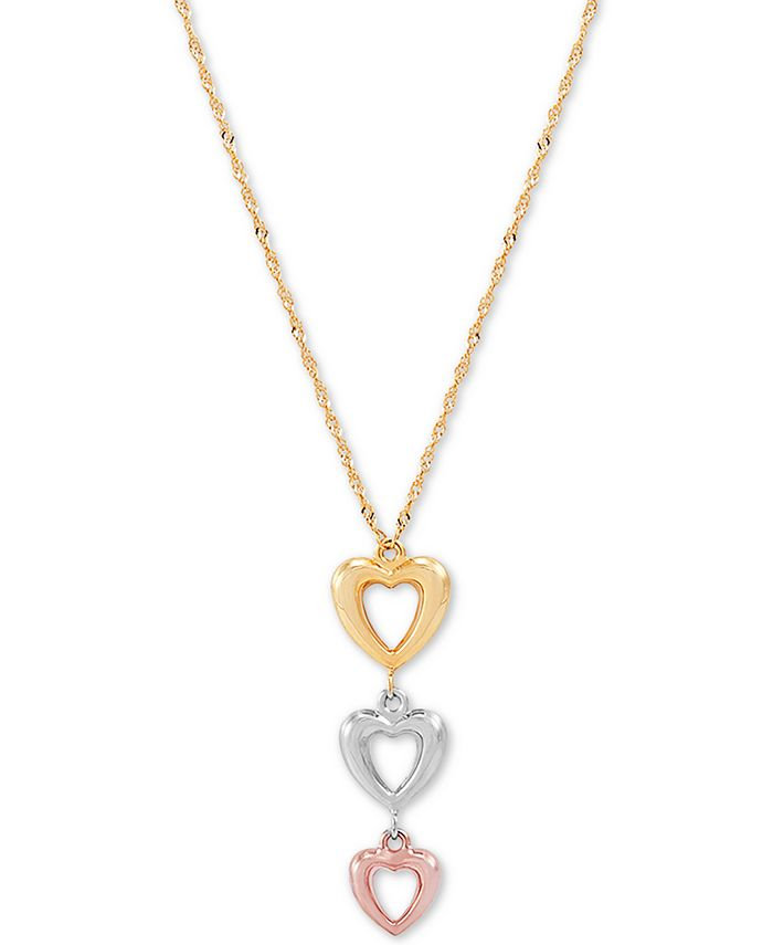 """Macy's - Triple Heart Tricolor 17"""" Pendant Necklace in 10k Gold, White Gold & Rose Gold"""