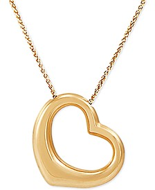 """Open Heart 18"""" Pendant Necklace in 10k Gold"""