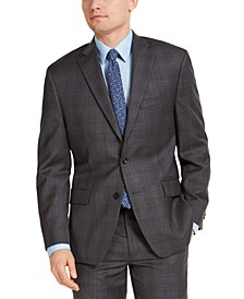 Men's Classic-Fit Airsoft Stretch Charcoal Plaid Suit Jacket