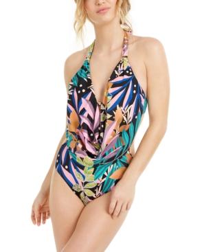 Hidden Jungle Printed Cowl-Neck Monokini One-Piece Swimsuit