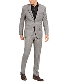 Men's Slim-Fit Stretch Light Gray Plaid Suit Separates
