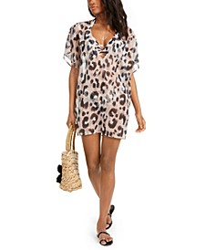 Leopard-Print Tunic Cover-Up, Created for Macy's