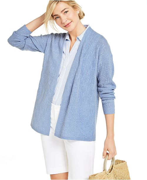 Charter Club Cashmere Cable Stitch Cardigan, Created for Macy's