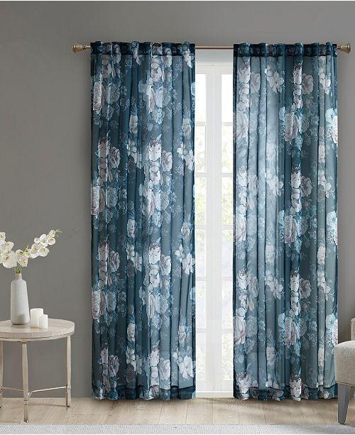 "Madison Park Simone 50"" x 95"" Printed Floral Sheer Curtain Panel"