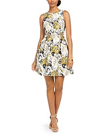 Floral-Print Jacquard Fit & Flare Dress