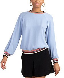 Striped-Trim Sweatshirt