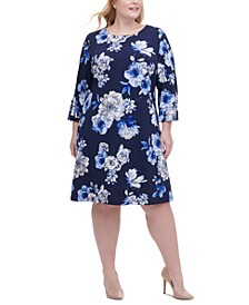 Plus Size Floral-Print Grommet-Sleeve Dress