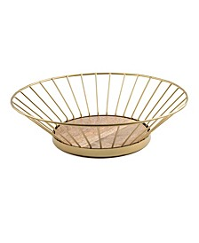 CLOSEOUT! Gold Wire Bowl with Wood Base