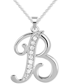 "Diamond B Initial 18"" Pendant Necklace (1/10 ct. t.w.) in Sterling Silver"