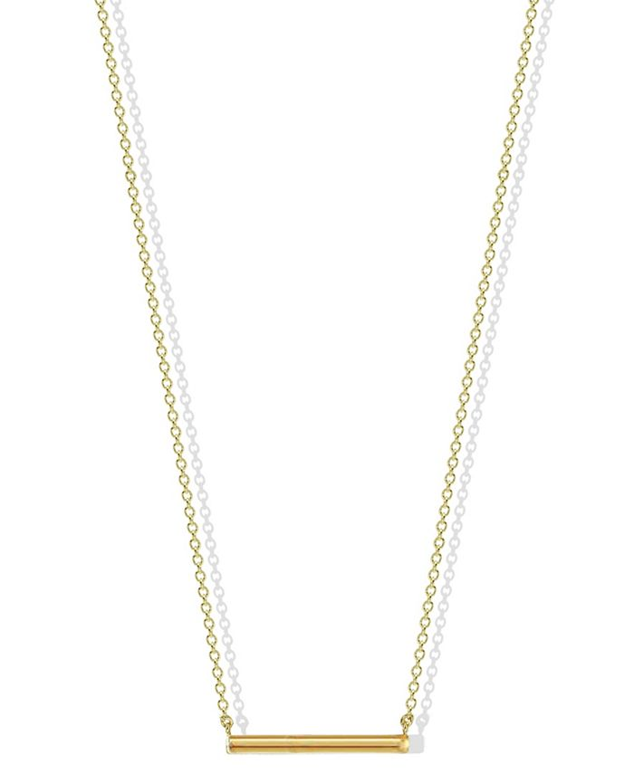 Argento Vivo - Hexagon Bar Necklace in 18k Yellow Gold over Sterling Silver