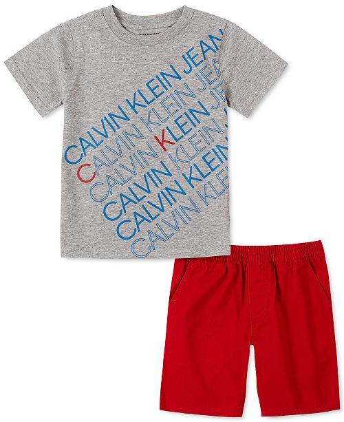Calvin Klein Toddler Boys 2-Pc. Logo T-Shirt & Twill Shorts Set