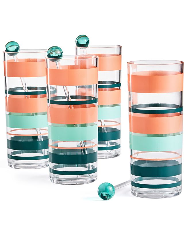 Martha Stewart Collection So-Cal Tom Collins Glasses, Set of 4, Created for Macy's