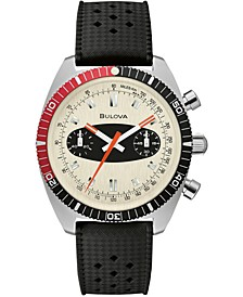 Men's Chronograph Archive Surfboard Black Silicone Strap Watch 40.5mm