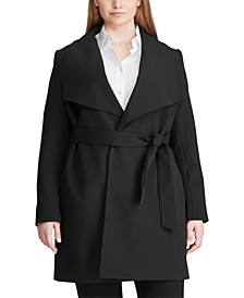 Plus-Size Belted Crepe Coat
