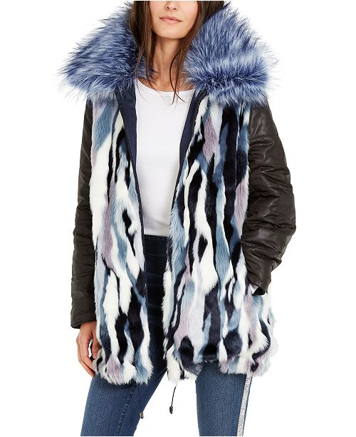 INC International Concepts INC Reversible Faux-Fur Anorak Jacket, Created For Macy's