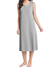 Sleeveless Long Cotton Chemise Nightgown
