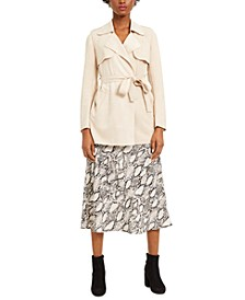 Belted Jacket, Woven Camisole & Snakeskin-Print Midi Skirt, Created for Macy's