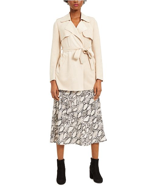 Bar III Belted Jacket, Woven Camisole & Snakeskin-Print Midi Skirt, Created for Macy's
