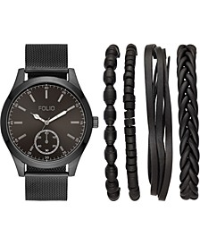 Men's Black Stainless Steel Mesh Bracelet Watch 47mm Gift Set